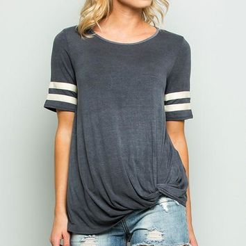 Vintage Style Side Knot Top - Charcoal