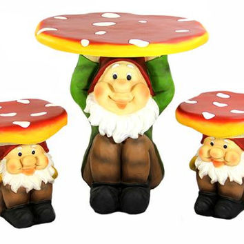 Gnome Garden Furniture Set - 2 Chairs