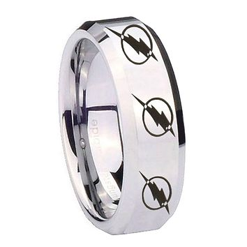8MM Mirror Bevel Edges Multiple Flash Silver Tungsten Laser Engraved Ring