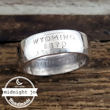 Wyoming 90% Silver State Quarter Coin Ring