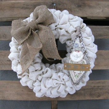 Burlap Christmas Wreath, Rustic Front Door Decor