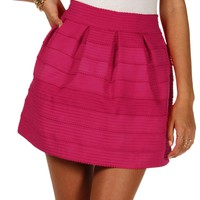 Sale-hot Pink Rubber Band Skater Skirt