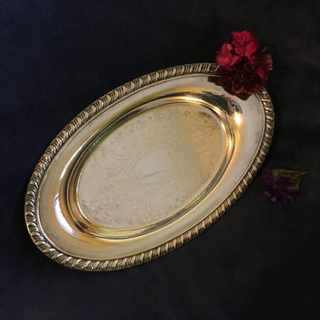 Silver Plated Trinket Ring Dish Oval Vanity Tray Perfume Display Dish Silver Plate Engraved With Flowers and Scrolls Ornate Small Bowl