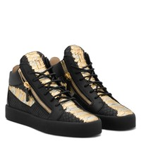 Giuseppe Zanotti Gz Kriss Metallic Black And Gold Python-embossed Sneaker With Side Zips