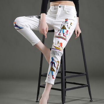 Hot sale fashion  embroidery Graffiti white baggy pants nine minutes of pants
