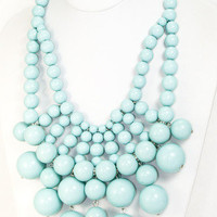 Midas Beaded Bib Necklace - Mint -  $26.00   Daily Chic Accessories   International Shipping