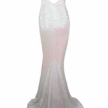 Old Hollywood White Sequin Sleeveless Spaghetti Strap V Neck Backless Mermaid Maxi Dress
