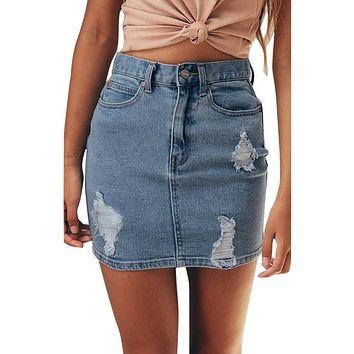 Long Denim Skirt for Women with Ripped Holes