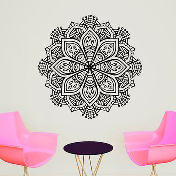 Wall Decals Mandala Indian Pattern Yoga Oum Om Sign Decal Vinyl Sticker Home Decor Art Murals Bedroom Studio Window MN484