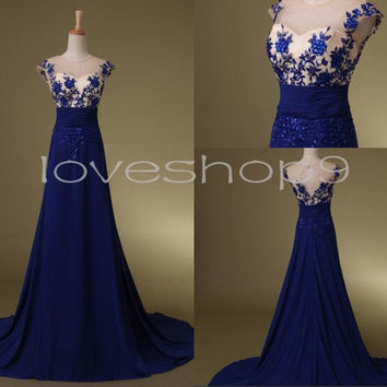 Vintage Long Royal Blue Beaded Prom Dresses See through Lace Prom Dresses  Formal Party Evening Dresses Homecoming Dresses Custom Made