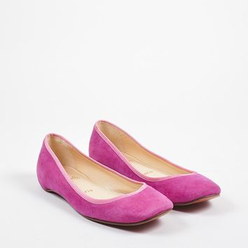 HCXX ?¨¨¨¤Christian Louboutin Fuchsia Pink Suede Grosgrain Trim Square Toe Flats