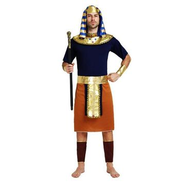 Adults Ancient Egypt Costume Men Orange Pharaoh Costume Cosplay Clothing Set Halloween Carnival Dance Party Decoration