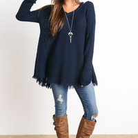Navy Cold Shoulder Cut Out Sweater Top