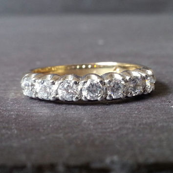 Vintage Diamond Eternity Ring, Gold 0.50 Carat Diamond Half Eternity Ring, Wedding Band Classic Elegant Engagement Ring, Anniversary Gift