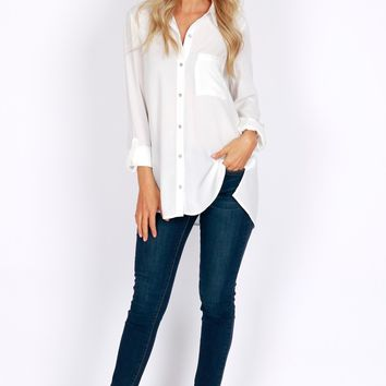 Simple Button Down Blouse Off White