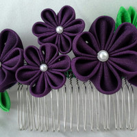 Deep purple flower and green leaves Vintage kimono fabric Kanzashi hair comb