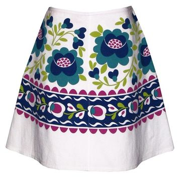hungarian rhapsody skirt - blue and turquoise - hand screen print inspired by traditional floral embroidery designs
