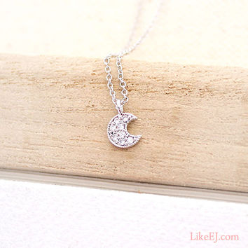 Tiny Crescent Moon Necklace