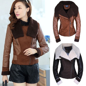 Fashion Women's Coat Faux Fur Leather Winter Coat Turn Down Collar Short Jacket = 1956244356