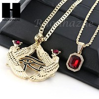 RUBY NEKHBET EYE OF HORUS PENDANT CUBAN LINK ROPE CUBAN NECKLACE SET 18