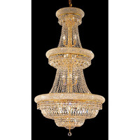 Elegant Lighting 1803G30G/RC Primo Gold Thirty-Two Light 30-Inch Chandelier with Royal Cut Clear Crystal and Crystal Drop