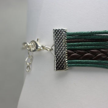 JOURNEY~ Brown and Green Leather Bracelet Infinity Where There's a Will Love Charm Bracelet Multilayer Handmade Gift ilovecheesygrits
