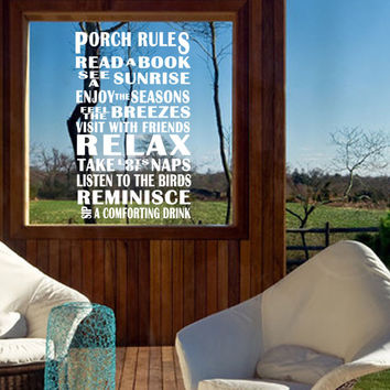Porch Rules Quote Wall Vinyl Decal Sticker Outdoor Decor Backyard