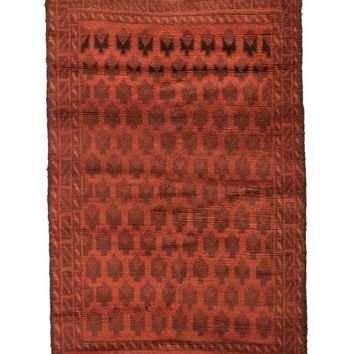3x4 Overdyed Vintage Tribal Burnt Orange Rug 2522