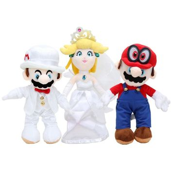 Super Mario party nes switch 3pcs/set  Odyssey The Wedding Dress Groom Costume  Princess Peach Cappy Cat Plush Toy Doll AT_80_8