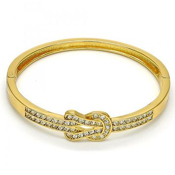 Gold Tone 07.252.0026.04.GT Individual Bangle, with White Crystal, Polished Finish, Golden Tone (05 MM Thickness, Size 4 - 2.25 Diameter)