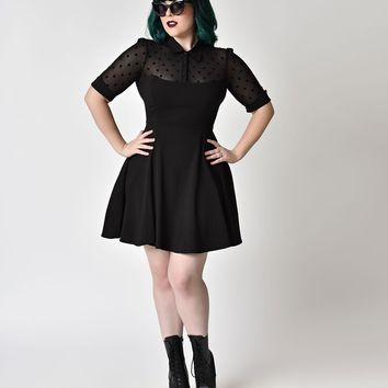 Collectif Plus Size 1950s Style Black Short Sleeve Wednesday Skater Dress