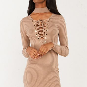 Lace Up Ribbed Dress in Nude