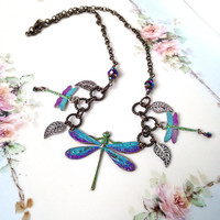 Dragonfly necklace, blue and purple brass dragonfly jewelry, boho, bohemian accessories, hand painted spring accessories, summer jewelry