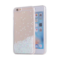 White Waterfall Glitter Bling Heart Love Shape Quicksand iPhone 6 Clear Case Hard PC With Soft TPU Frame SJK-004-1