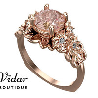 Flower Engagement Ring,Unique Engagement Ring,Rose Gold 1.5 Carat Ring By Vidar Botique,Morganite Engagement Ring,Leaves Ring,Vintage Ring