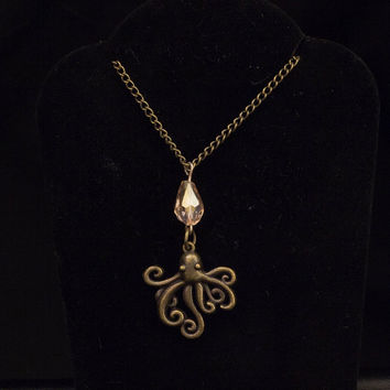 Octopus Charm Pendant, Brass Charm Necklace, Crystal Bead Pendant, Beach Inspired Jewlery