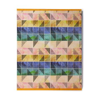 "bruxamagica ""Tartan Blue And Gold"" Coral Blue Abstract Pattern Digital Vector Birchwood Wall Art"