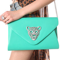 Accessories Boutique Envelope Clutch Queen Tiger in Mint