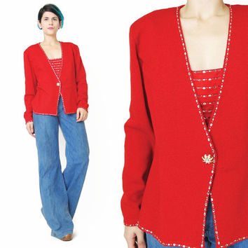 St John Evening Red Cardigan Sweater Crystal Sparkly Diamante Sweater Christmas Holiday Party Sweater Vintage Designer Red Knit Jumper (M)