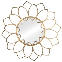 Virasoro Distressed Gold Petal Round Wall Mirror