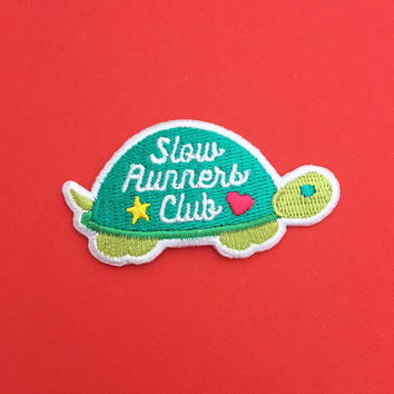 Slow Runners Club Patch - Iron On Cute Tortoise Patch