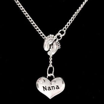 Baby Footprints Nana Gift Mother's Day Grandmother Gift Lariat Style Necklace