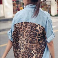 Leopard Print Back Chiffon Denim Shirt