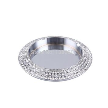 Hot Embedded Diamond High-end Cigar Cohiba  Smoking  Silver Large Ashtray Home Decoration