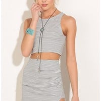 Skirts > Stripe Two Piece Dress Set In White And Black