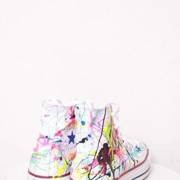 Adult White High Top Splatter Painted Converse Sneakers Adult Size 4, Neon Lights Colo