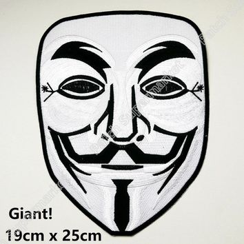 "10"" GIANT ANONYMOUS V For Vendetta Patches Guy Fawkes Biker Vest Jacket Back Large Iron On Movie halloween cosplay costume"