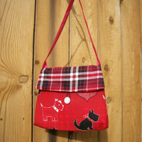 Scottie Dogs and Plaid on Red Girlie Bag Mini Cotton Flap Closure Fashion Handbag