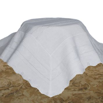 Beautifully Detailed Knit 100% White Acrylic Shawl Blanket High Quality & Weight (Infant Boy or Girl)