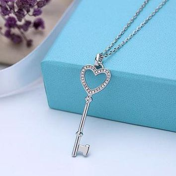Tiffany New Heart Heart Necklace 925 sterling silver high quality chain length 40+5 DCCK